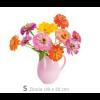Raamdecoratie Flat Flowers Zinnia roze