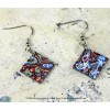 Graffiti earrings square with unique colors and patterns