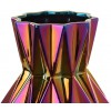The unique folds and almost mystical hues of gold, copper and purple make this vase of 35 cm in height and 17 cm diameter a true decorative piece, suitable for a big bouquet of flowers in any interior style.