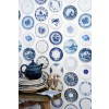 Wallpaper with blue white Porcelain tableware.