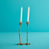 Set of 2 Long Legs Gold candlesticks in shiny gold, piece of conversation at every dinner