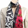 Silk scarf in red, white, grey and green