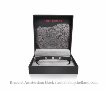 Amsterdam Armband L in zwart staal Large koop je bij shop.holland.com