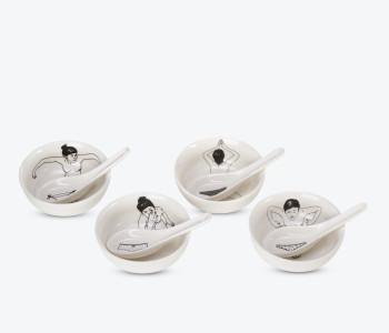 Pols Potten Schalen Undressed aus Porzellan - 4er-Set