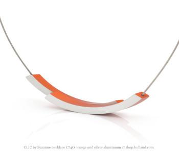 Clic Collier C74O Zilver en Oranje van Clic by Suzanne