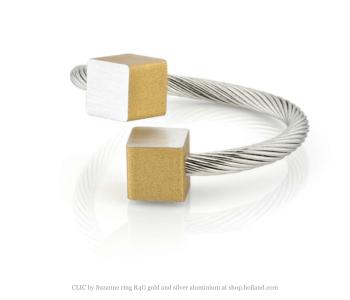 CLIC by Suzanne ring R4G in goud geel en zilver aluminium vind je bij shop.holland.com
