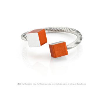 CLIC by Suzanne ring R4O oranje en zilver aluminium vind je bij shop.holland.com