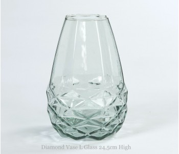 Diamant Vase L Fairtrade Original Weiß Facetten