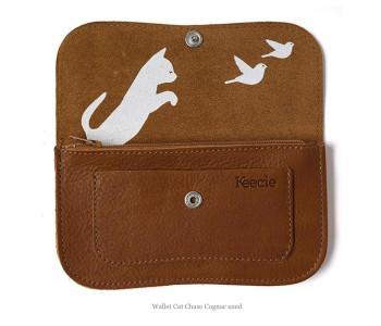 Portemonnaie Cat Chase von Keecie in der Farbe Cognac