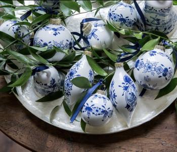 Delfts blauw kerstballen 6cm van Royal Delft voor een sfeervolle kerstboom