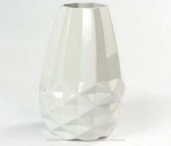 Diamant Vase L Fairtrade Original Weiß Facetten