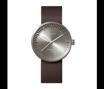Besondere Geschenkidee: Tube D38 Edelstahl-Armbanduhr mit braunem Lederarmband Entwurf Piet Hein Eek