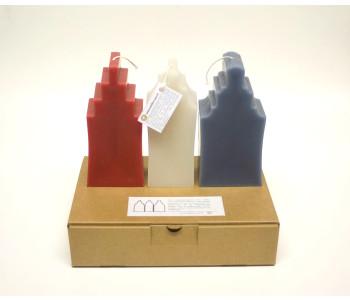 Design Kerze Grachtengebäude von Atelier OZO in Rot, Weiß und Blau