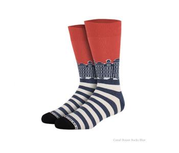 Grachtenpanden sokken blauw van Heroes on Socks - maat 41-46
