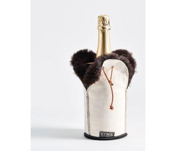 Kywie Wooler Champagne koeler van schapenvacht in de kleur wit met bruin bont model Uggs