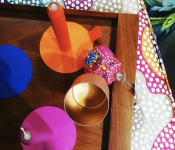 No.7 Vintage Spot Koplamp aqua met linnen snoer bestel je bij shop.holland.com