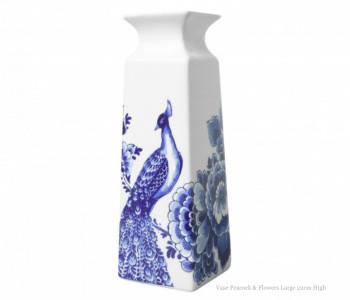 Delfts Blauw Vaas - Pauw en Bloemen L 22 cm koop je bij shop.holland.com