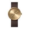 LEFF amsterdam Armbanduhr D38 Messing mit braunem Lederarmband