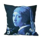 Kissenbezug Mädchen mit Perlenohrring - Delfter Blau 45x45 cm