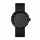 LEFF Tube Armbanduhr D38 Schwarz mit schwarzem Lederarmband