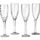 Pols Potten Champagnerglas; - 4er-Set unterschiedlich geschliffene Gläser
