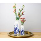 Delfter Blaue Vase - Pfau und Blumen