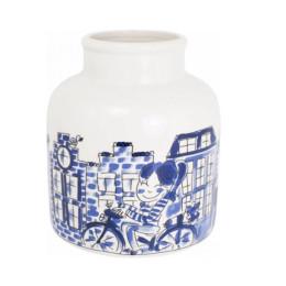 Diese lustige Vase aus der Serie Delfter Blond ist aus Steingut