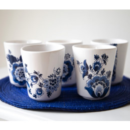 Dutch Design Manschettenknöpfe mit Mühle auf Porzellan von Royal Delft