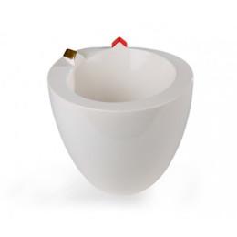 Vase Slingerland, weiße Vase mit Häuschen