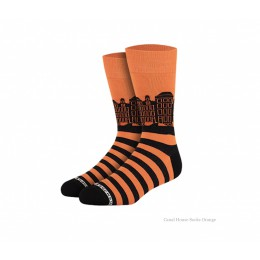 Grachtenpanden sokken oranje van Heroes on Socks - maat 41-46