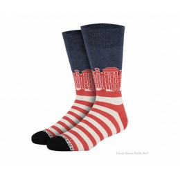 Grachtenpanden sokken rood van Heroes on Socks - maat 41-46