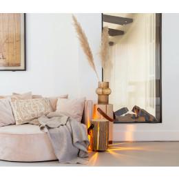 Medium lamp wood light essenhout met lederen handvat