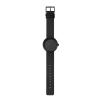 Originelle Geschenkidee: D38 Tube Armbanduhr aus schwarzem Stahl mit schwarzem Lederband von LEFF amsterdam