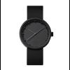 Schwarzer Stahl mit schwarzem Lederarmband; stilvolle Design-Armbanduhr Tube D38 von LEFF amsterdam