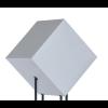 Die von Frederik Roijé entworfene Starlight Lamp Medium ist ein Stapel quadratischer Formen mit einem leuchtenden Würfel darüber, der auf einer der Rippen balanciert.