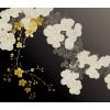 Aufdruck Chrysanthemen in Schwarz und Gold